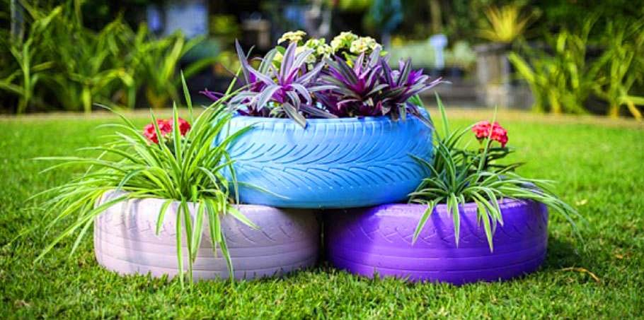 recyclage de pneus en jardinières
