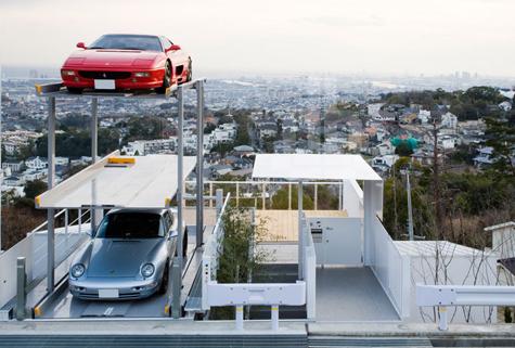 parking ascenceur sur toit vue insolite