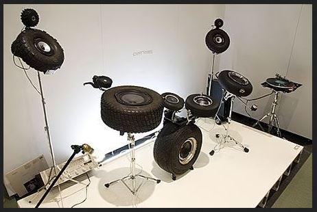 jante pneu recyclé recyclage instrument musique